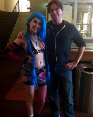 Alabama FireCracker pre breast (i)mplants, doing cos play at the comic con – SGB natch cosplaying with blue hair wig