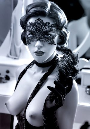 Beautiful woman in masquerade mask showing off her perfect chest
