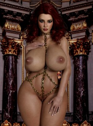 Gorgeous redhead babe with big tits and big ass in costume made from chains