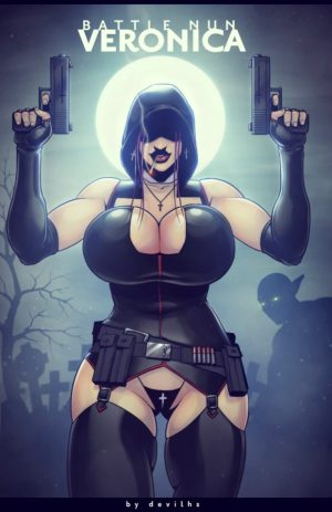 Hot nun uniform on big tits babe with black stockings – hot black costume