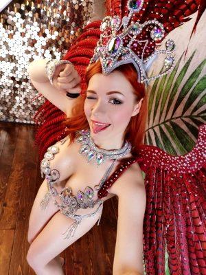 Irina Meier in very revealing Mardi Gras Costume