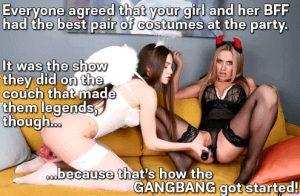 lusty lesbians get gangbang going