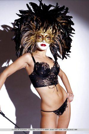 Olga G wearing Venezian Mask –