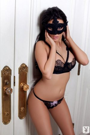 Rachel wears Mask and sexy black lingerie