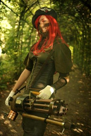 Redhead steampunk girl with a gun. What could be better?