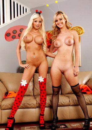 Rikki Six & Jessie Rogers with their halloween costumes.
