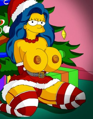 Sexy Marge Simpson in Xmas Costume