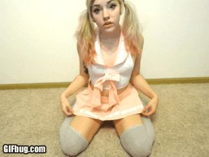 Shy cosplay teen on webcam