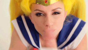 Spunk on a cosplay hotty.