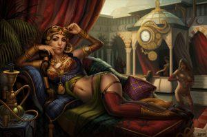 steampunk babe reclining