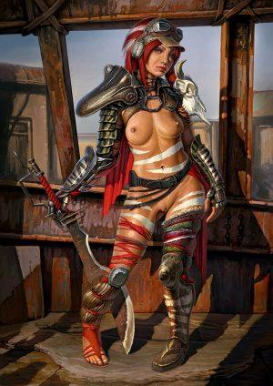 Steampunk redhead babe