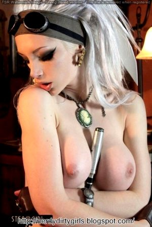 Very Hot Steampunk Cosplayer Shows Big Tits